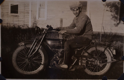 Cecil Kindsvater on his Harley Davidson