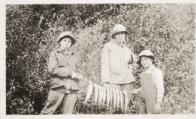 Art LeCoump, Robert LeCoump and Agnes Sedy LeCoump fishing in Alaska