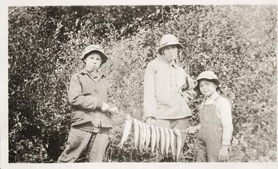 Art LeCoump, Robert LeCoump and Agnes Sedy LeCoump fishing in Alaska