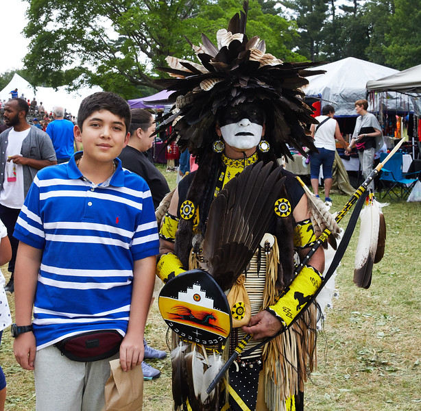 Andres and Indigenous Peoples Pow Wow dancer
