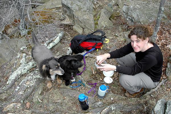 snack break with Elliot & Ollie  - Shenandoah National Park 4-2004