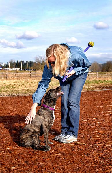 Amanda making friends with Karly @ Marymoor-Redmond, WA 2-14-2008