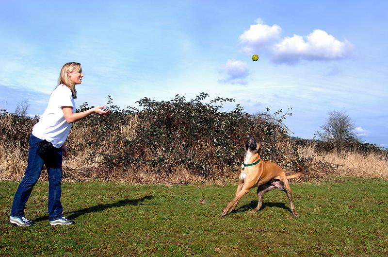 Amanda playing catch with Benson-Marymoor-Redmond, WA 2-14-2008