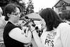 Mel making friends @ the Woodinville Wags & Whiskers adoption fair-bw 8-1-2010