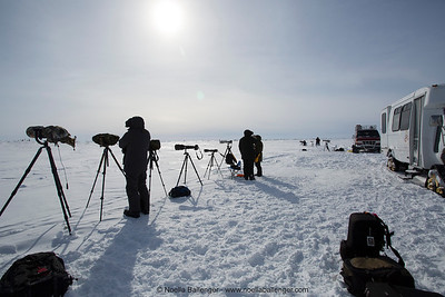 The temperature ranged from about -25 to -40 degrees Fahrenheit.  Camera gear as well as bodies had protection.