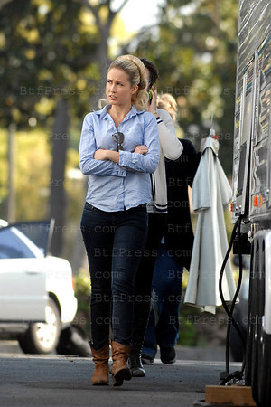 EXCLUSIVE- Anna Camp arrives at the base camp of Mad Men set.