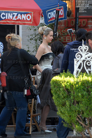 Anna Cam during the set of Mad Men in Pasadena,co-star Jon Hamm.