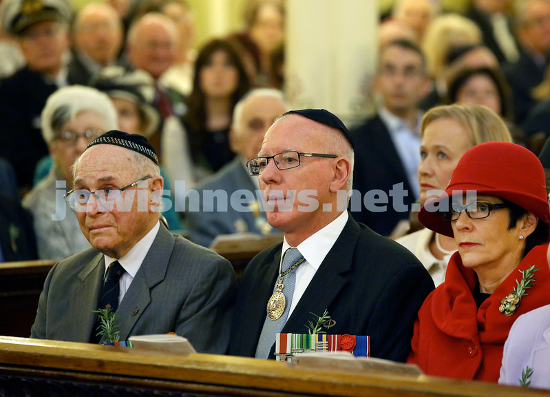 Anzac Centenary Commemorative Service of the NSW Jewish Community. Wesley Browne, NSW Governor David Hurley with his wife Linda.