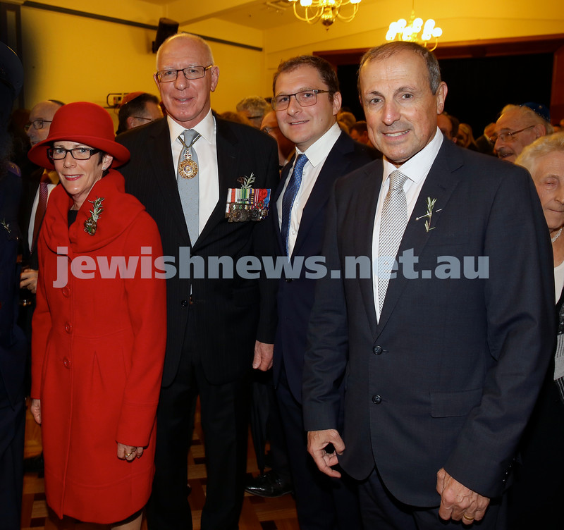 Anzac Centenary Commemorative Service of the NSW Jewish Community. Linda Hurley, NSW Governor David Hurley, Jeremy Spinak, Vic Alhadeff.