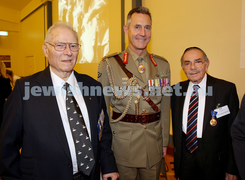 Anzac Centenary Commemorative Service of the NSW Jewish Community. Brian Nebenzahl, Major Gen. Gus Gilmore, Harvey Cooper.