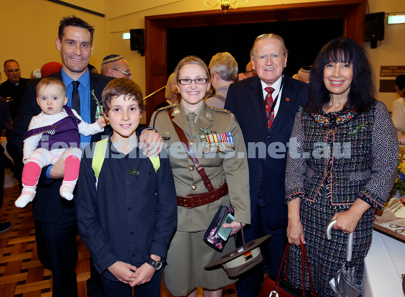 Anzac Centenary Commemorative Service of the NSW Jewish Community. Nathan Daniel, Vienna Haber, Tanya Haber, Aiden Daniel, Rev. Fred Nile, Silvana Mero.