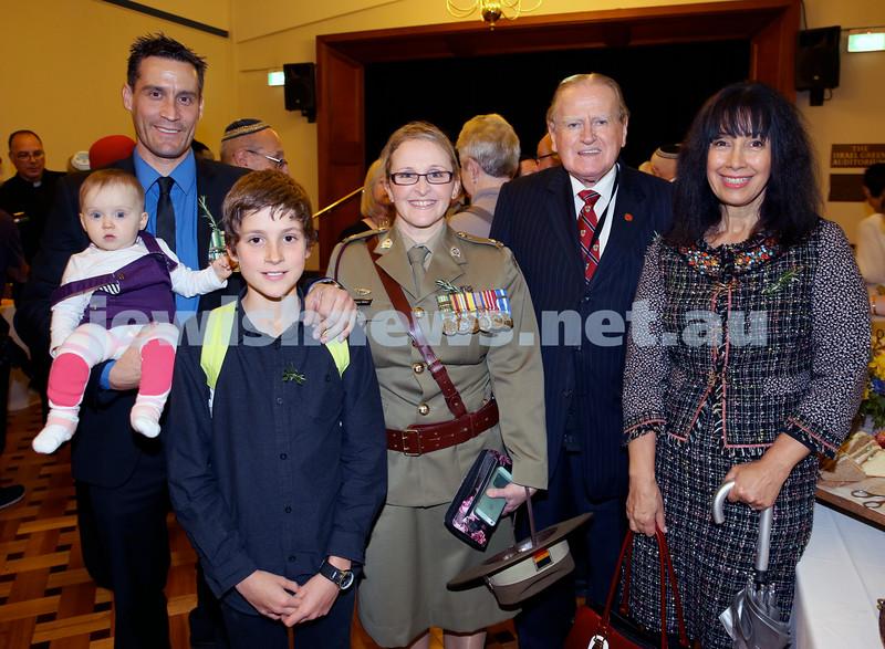 Anzac Centenary Commemorative Service of the NSW Jewish Community. Nathan Daniel, Vienna Haber, Tanya Haber, Aiden Daniel, Rev. Fred Nile, Silvana Mero.