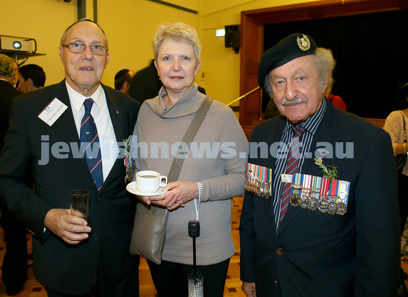 Anzac Centenary Commemorative Service of the NSW Jewish Community. Dr.Sam Sakker, Karen Sakker, Maurice Kriss.