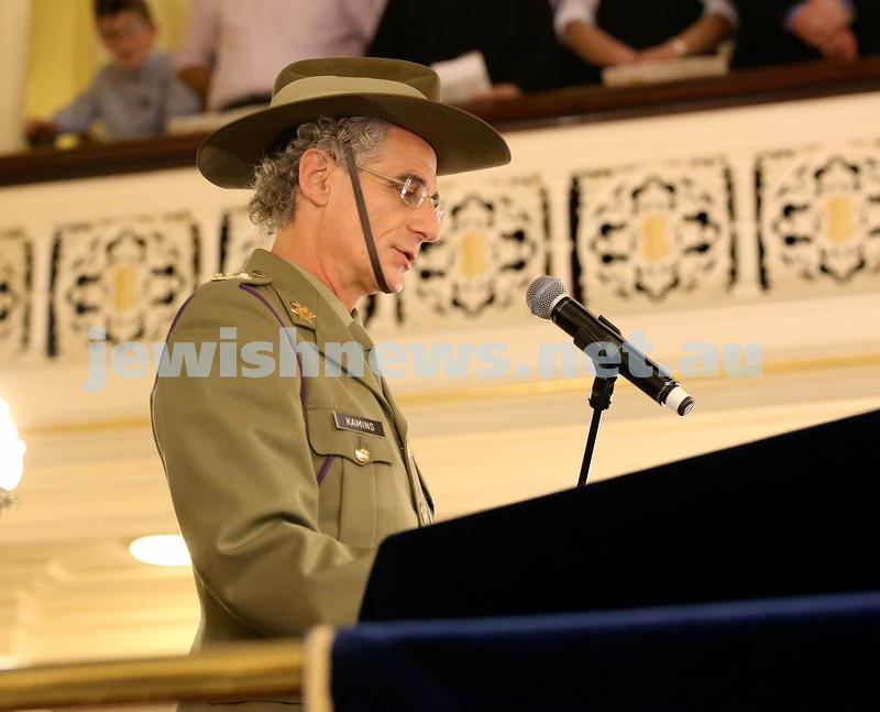 Anzac Centenary Commemorative Service of the NSW Jewish Community. Rabbi Jeffrey Kamins.