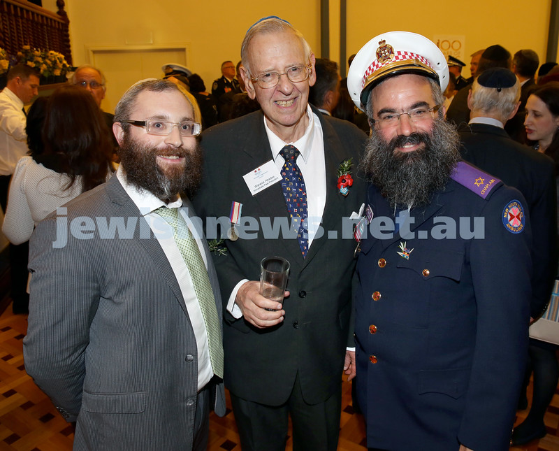 Anzac Centenary Commemorative Service of the NSW Jewish Community. Rabbi Danny Yaffe, Warwick Abadee, Rabbi Dovid Slavin.