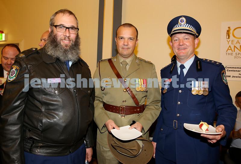 Anzac Centenary Commemorative Service of the NSW Jewish Community. Rabbi Mendel Kastel,  Lt.Col John Hyde, Police Insp. Eddie Bosch.