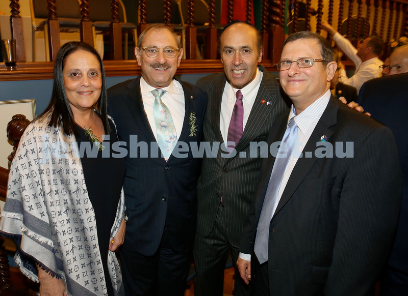 Anzac Centenary Commemorative Service of the NSW Jewish Community. Roberta & Robert Goot, American Consul General Hugo Llorens, Israeli Ambassador Shmuel Ben Shmuel.