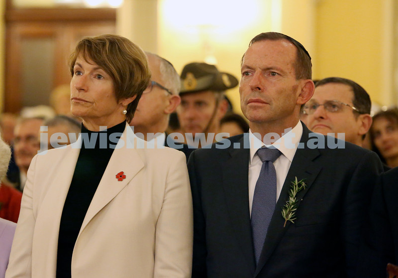 Anzac Centenary Commemorative Service of the NSW Jewish Community. Prime Minister Tony Abbott with his wife Margie.