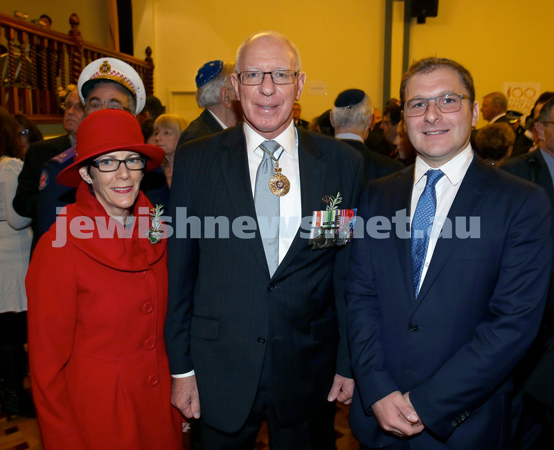 Anzac Centenary Commemorative Service of the NSW Jewish Community. NSW Governor David Hurley with his wife Linda, and Jeremy Spinak.