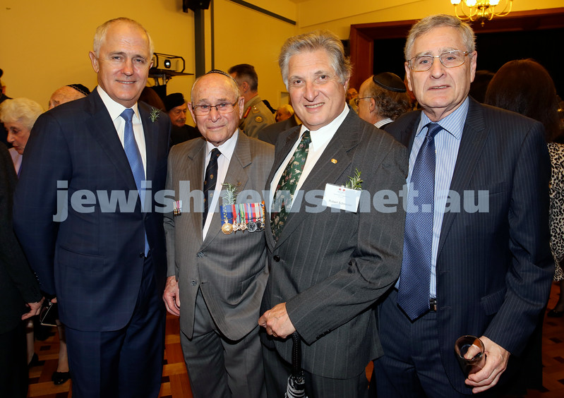 Anzac Centenary Commemorative Service of the NSW Jewish Community. Malcolm Turnbull, Wesley Browne, Robert Schneider, Norman Seligman.