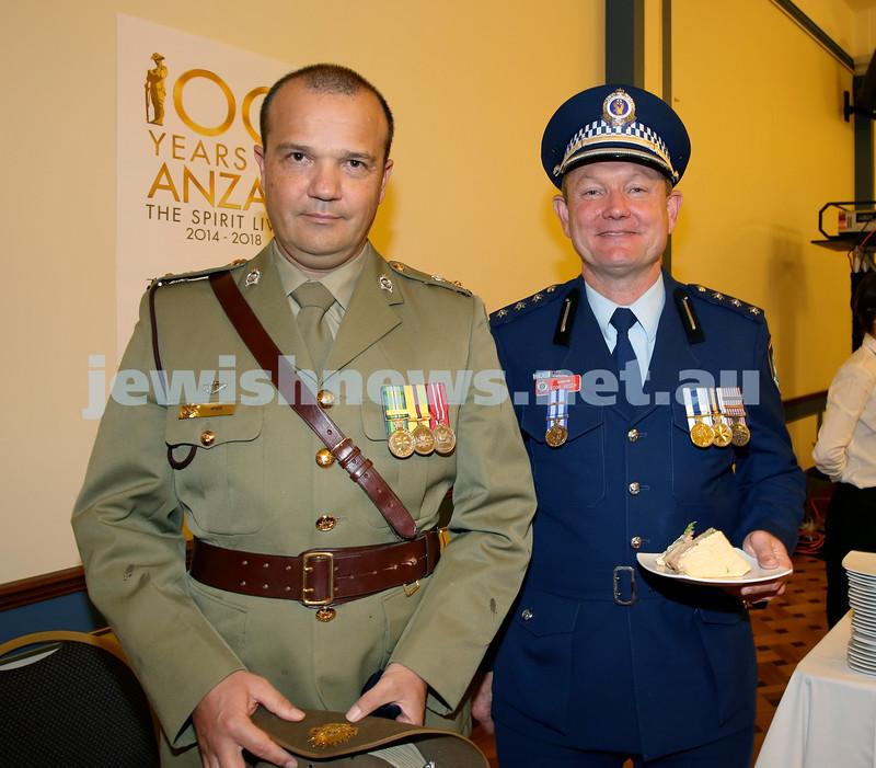 Anzac Centenary Commemorative Service of the NSW Jewish Community. Lt.Col John Hyde & Police Inspector Eddie Bosch.