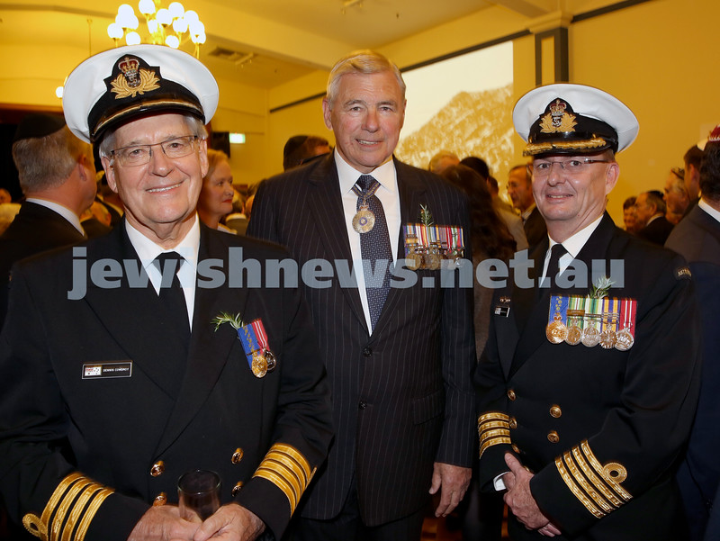 Anzac Centenary Commemorative Service of the NSW Jewish Community. Captain Dennis Cowdry, Ken Doolan, Captain Nick Bramwell.