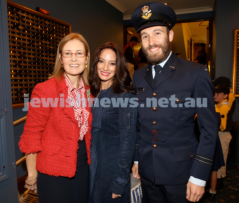 Anzac Centenary Commemorative Service of the NSW Jewish Community. State Attorney Gen. Gabrielle Upton, Chana Raizel & Rabbi Yossi Friedman.