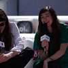 Cults being interviewed in Aol VIP Lounge