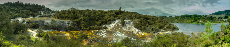 Orakei Korako Cave and Thermal Park where geothermal springs bubble to the surface leaving multi-colored mineral deposits.