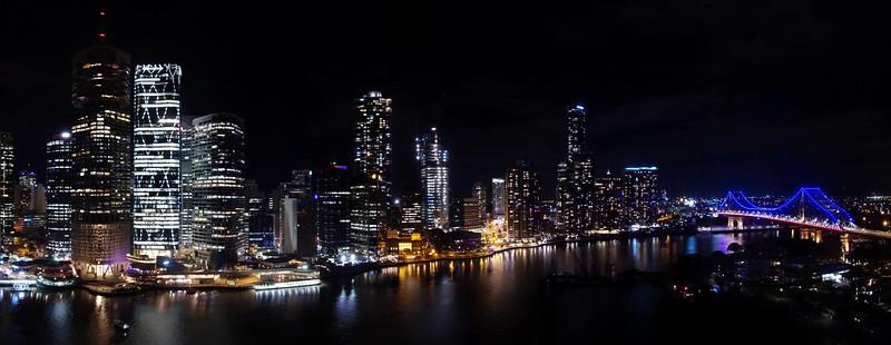 Brisbane by night<br /> 5 image panorama