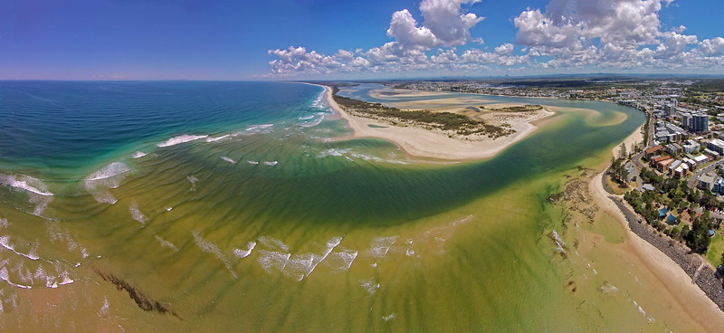 Green water of Pumicestone Passage meets the blue of the Pacific on a run out tide.  Bribie Island & Pumicestone Passage