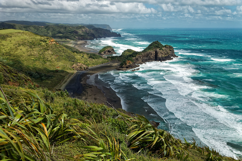View over O'Neills and Bethells Beaches from the Hillary Trail in the Waitakere Ranges west of Auckland