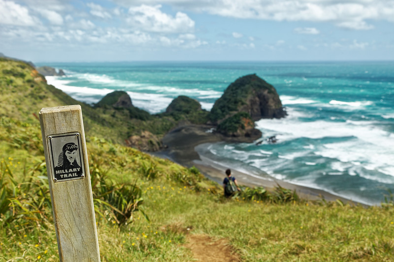 Girl walks down to O'Neills and Bethells Beaches from the Hillary Trail in the Waitakere Ranges west of Auckland
