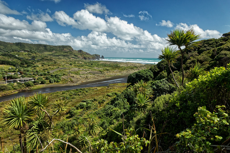 View over the Waitakere River to Bethells Beach