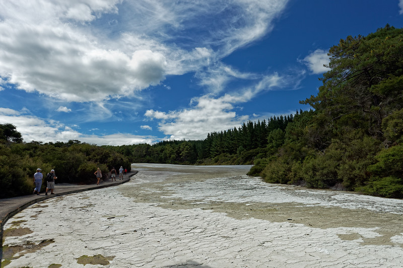 The Primrose Terrace, the largest sinter terrace in New Zealand formed by dissolved silica from the Champagne Pool