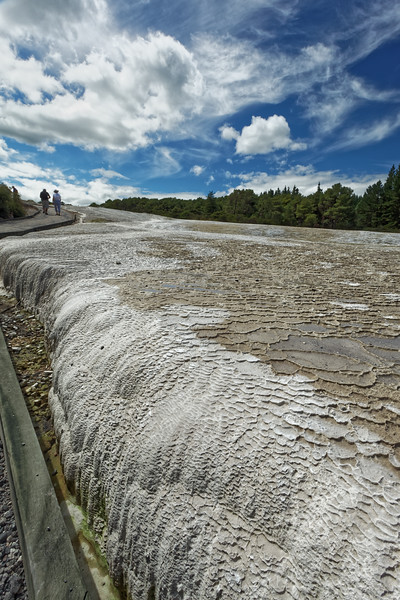 The Primrose Terrace, the largest sinter terrace in New Zealand formed by dissolved silica from the Champagne Pool at  Wai-O-Tapu Thermal Wonderland near Rotorua