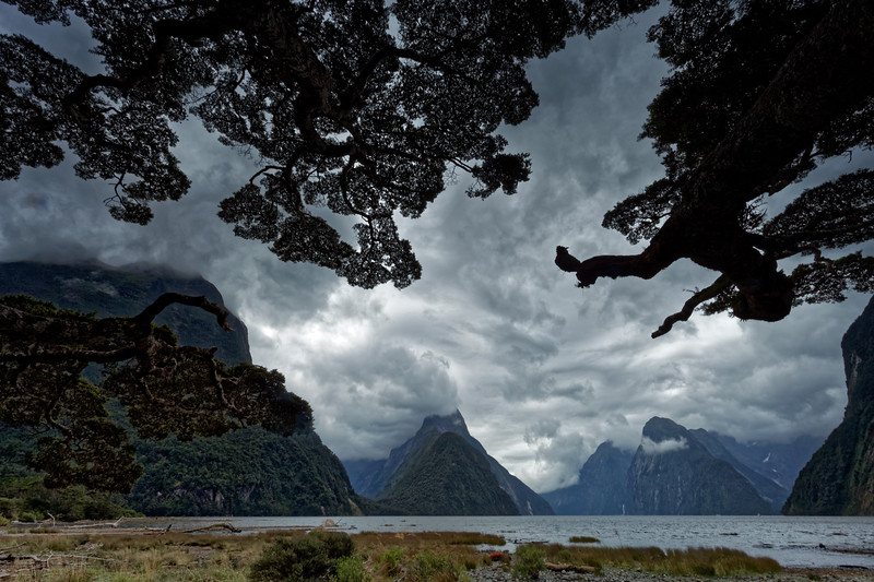 Rainy front moves over Milford Sound in Fiordland National Park
