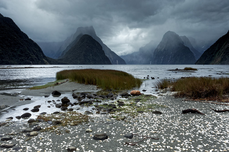 Rain clouds over Milford Sound, Fiordland National Park