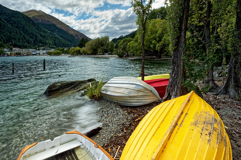 Rowing boats on the Queenstown Trail,  Queenstown, Otago