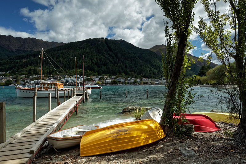 Rowing boats drawn up on Lake Wakitipu in Queenstown, Otago