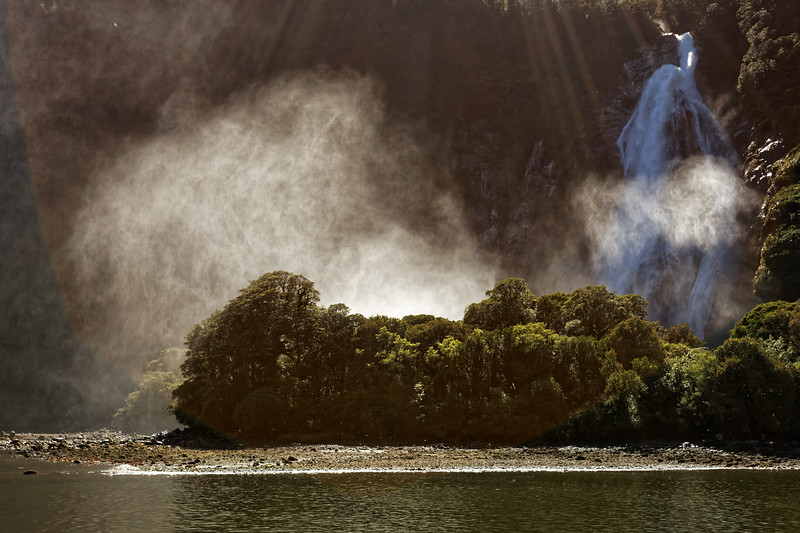 Lady Bowen Falls at Milford Sound in Fiordland National Park