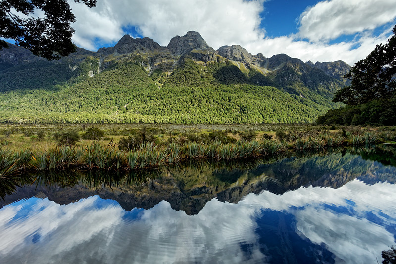 The Earl Mountains reflected in the Mirror Lakes on the Milford Road in Fiordland National Park