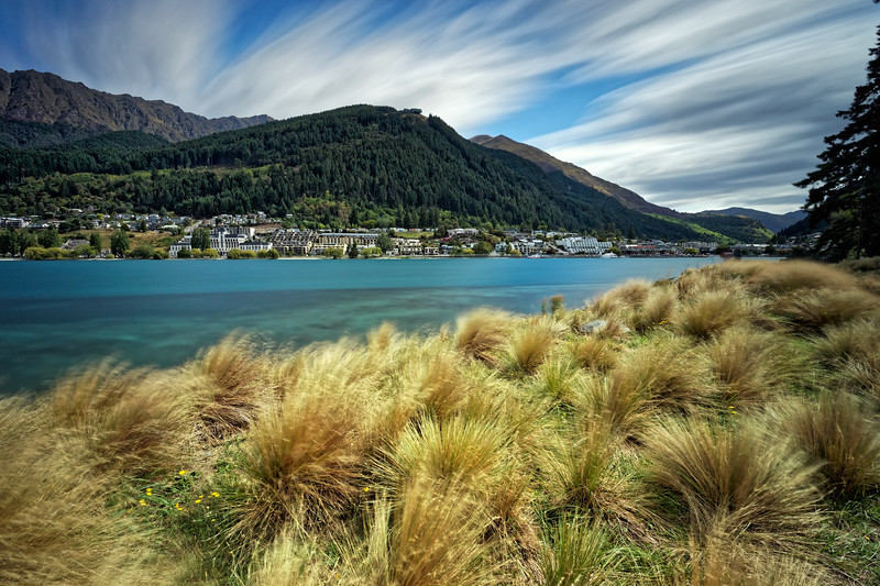 Lake Wakitipu and Queenstown from the  Queenstown Trail, Otago