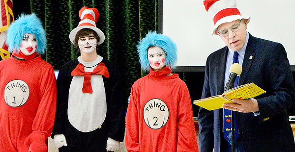 Kevin Harvison | Staff photo<br /> Pictured right, Oklahoma District 18 State Representative reads One Fish Two Fish to Jefferson Early Childhood Center Friday in honor of Dr Seuss birthday.