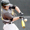 Kevin Harvison | Staff photo<br /> McAlester Buffalo batter Alton Jones hits the ball during a home win against Spiro Saturday at Mike Deak Field.