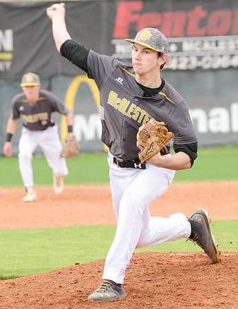 Kevin Harvison | Staff photo<br /> McAlester Buffalo pitcher Robbie Waldron delievers the ball during a home win against Spiro Saturday at Mike Deak Field.