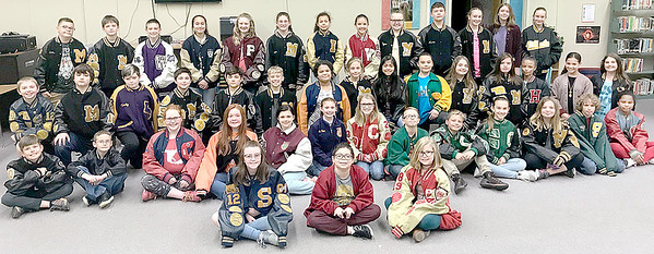 "Kevin Harvison | Staff photo<br /> Students from Parker Intermediate Center show off Letter Jackets and Sweaters. The students are wearing them for a school wide March Maddness bracket style contest to get  school spirit and get ""fired up"" before state testing begins. The class with the most participation gets the winning prize."