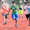 KEVIN HARVISON | Staff photo<br /> Elementary boys compete in the 50 meter dash during the McAlester All Schools Elementary Track Meet at Hook Eales Stadium.