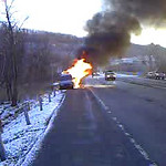 GILBERTON - ROUTE 924 VEHICLE ACCIDENT W/ FIRE 4-7-2009 PICTURES AND VIDEO BY COALREGIONFIRE
