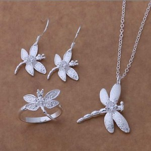 Silver Dragonfly Jewelry Set